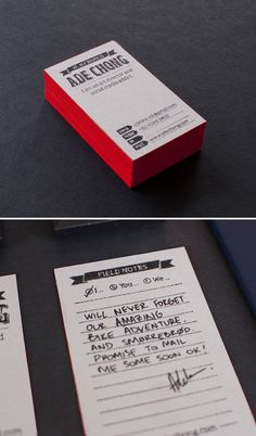 Business Card with lines for notes
