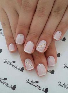 27 Nail models with white enamel - Nail Designs! Perfect Nails, Gorgeous Nails, Pretty Nails, Elegant Nails, Stylish Nails, Shellac Nails, Manicure And Pedicure, Nail Nail, Milky Nails