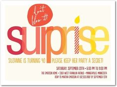 Secret Surprise - Adult Birthday Party Invitations in Red Lantern or Berry | Picturebook