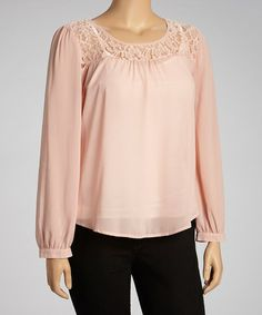 Another great find on #zulily! Peach Lace Long-Sleeve Top - Women & Plus by Perch by Blu Pepper #zulilyfinds