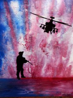 """Protected"""" Original Spray Paint Art by artist Jim Beard signed original one of a kind home decor soldier painting patriotic"""
