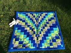 Babydecken - Babydecke/Krabbeldecke Bargello, blau / grün - ein Designerstück von Alani11 bei DaWanda