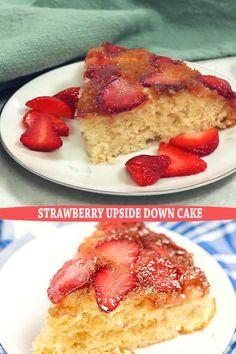 Frozen Strawberry Desserts, Strawberry Upside Down Cake, Frozen Desserts, Easy No Bake Desserts, Sugar Free Desserts, Easy Desserts, Delicious Desserts, Mango Dessert Recipes, Desert Recipes