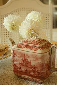 Staffordshire red transferware tea pot
