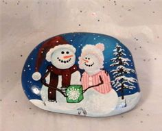 Snow Man with Snow Lady with Snow Covered Tree Hand Painted on Rock | eBay