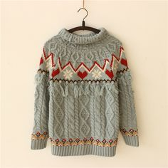 Warm Winter Aztec Boho Geometric Knit Sweater for Women
