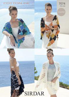 Sirdar Ladies Wraps & Shawls Cotton Crochet Pattern 7074 DK