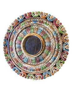 Indian Chakra Wall Mirror Painted Table, Round Hand Carved India Mogul Interior http://www.amazon.com/dp/B00PN301ZI/ref=cm_sw_r_pi_dp_9kqSub00XSNDY