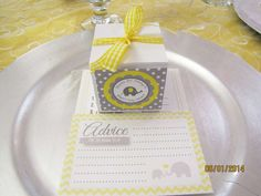 Yellow and gray elephant baby shower party! See more party planning ideas at CatchMyParty.com!