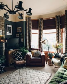 Need dark furniture inspiration? Come inside this unique Yorkshire home, brimming vintage, industrial and new design pieces Dark Green Living Room, Dark Living Rooms, Home Living Room, Living Room Decor, Living Spaces, Living Room Inspiration, Home Decor Inspiration, Furniture Inspiration, Interior Design Living Room