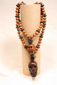 108 Wood Bead Mala with Carved Wood Skulls Buddhist by QuietMind, $55.00