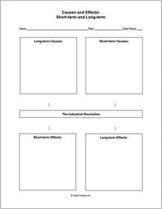 Industrial Revolution Causes and Effects Worksheet - Free to print (PDF file).