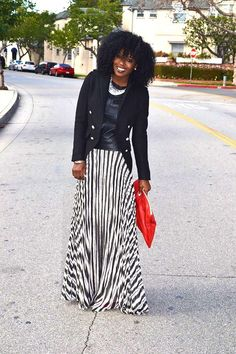Style Pantry | Military Style Jacket + Leather T-Shirt + Striped Maxi