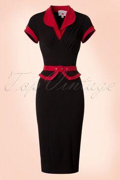 Miss Candyfloss TopVintage Exclusive Black Pencil Dress