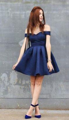 Dark-Navy Homecoming Dress,Short Homecoming Dress,Cheap Prom Dress,Off-the-shoulder Modest