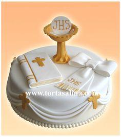 Torta de Primera Comunión con Copón, Libro y Lazo
