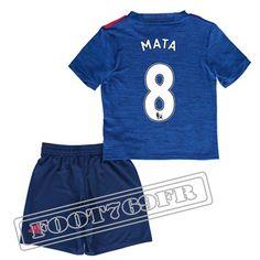 Personnalise Maillot De Mata 8 Manchester United Enfant Bleu 2016 17 Exterieur : Premier League