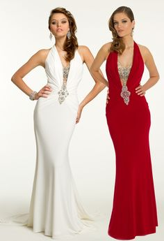 Long jersey dress with beaded plunging neckline dresses