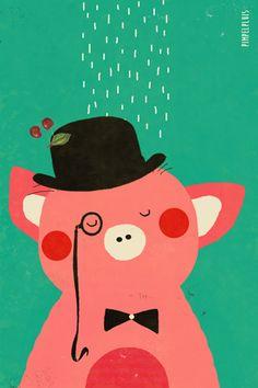 Varken print - Pimpelpluis - https://www.facebook.com/pages/Pimpelpluis/188675421305550?ref=hl - (nursery print illustration kids children art poster dieren kinderen cute illustratie varken pig piggy animal retro)