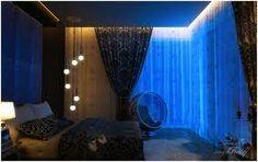 Blue bedroom interior design and decoration ideas Romantic Bedroom Lighting, Romantic Bedroom Design, Bedroom Decor Lights, Modern Bedroom Design, Contemporary Bedroom, Bedroom Designs, Artistic Bedroom, Modern Bedrooms, Master Bedrooms
