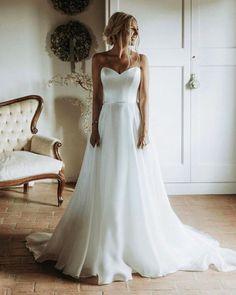 Hottest Wedding Dresses Collections for 2021 ❤ best wedding dresses a line sweetheart strapless neckline simple suzanneneville #weddingforward #wedding #bride