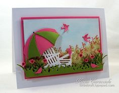 Umbrella Chair Garden Scene by kittie747 - Cards and Paper Crafts at Splitcoaststampers