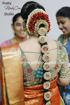 Order Fresh flower poolajada, bridal accessories from our local branches present over SouthIndia, Mumbai, Delhi, Singapore and USA. Bridal Hairstyle Indian Wedding, South Indian Bride Hairstyle, Indian Wedding Hairstyles, Indian Bridal Fashion, Kerala Bride, Hindu Bride, Dress Hairstyles, Bride Hairstyles, Pink Saree Blouse