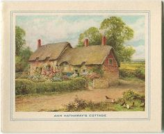 VINTAGE SUMMER ENGLISH GARDEN ANN HATHAWAY'S COTTAGE PASTORAL TREES CARD PRINT Architectural Prints, Country Cottages, Summer, Mixed Media, Cards, Ann, Trees, English, Painting