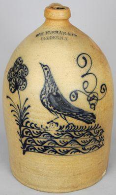 W.H. FARRAR & CO. / GEDDES, N.Y. Stoneware Bird Jug.  May 2006 Crocker farm auction, realized 5775.00