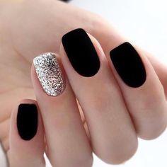 nails one color matte - nails one color ; nails one color simple ; nails one color acrylic ; nails one color summer ; nails one color winter ; nails one color short ; nails one color gel ; nails one color matte Stylish Nails, Trendy Nails, Cute Nails, Fancy Nails, Black Nail Designs, Acrylic Nail Designs, Nail Color Designs, Shellac Designs, New Years Nail Designs