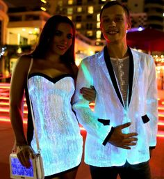 Lighting in four different colours and modes, Your Mind Your World glow in the dark fiber optic light up jacket is perfect for raves and music festivals. Best Prom Dresses, Prom Dresses For Sale, Sparkly Dresses, Glow Party Outfit, Fiber Optic Dress, Light Up Clothes, Party Outfits For Women, Neon Party, Little White Dresses