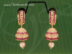 Gold plated American Diamond and Ruby stone jhumka jhumki buy online