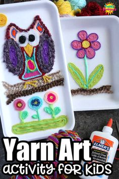 With this Huichol-inspired art process, kids can create a vibrant and unique piece of art, using colourful yarn scraps and glue. #YarnArt #YarnPainting #Huichol #KidsArt #KidsCraft #YarnCraft #ArtForTeens #ArtForTweens #ArtProject #ArtClass Yarn Painting, Painting For Kids, Art For Kids, Kids Fun, Projects For Kids, Crafts For Kids, Arts And Crafts, Art Projects, Painting Activities