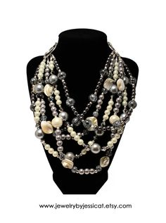 CLASSIC, Statement Necklace, Gray, Silver, Ivory, Graphite, Sparkle, Statement, Bold, Chunky, Pearls, Crystals, Jewelry by Jessica Theresa