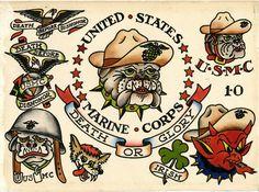 Marine Corps, Bull Dog, Etats-Unis. Modelos de tatuajes empleados por el cuerpo de Marines del Ejército de los EE.UU