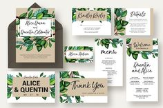 Greenery Branch Wedding Suite - Invitations