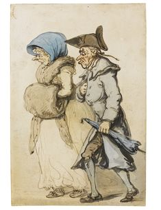 Thomas Rowlandson (1756-1827), A LONDON CITIZEN AND HIS WIFE TAKING A WALK; Pen and grey ink and watercolour, 212x143 mm