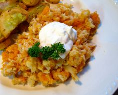 "Mashed Cauliflower and Sweet Potatoes - I had some cauliflower and some sweet potatoes... so I searched a recipe and found this.  It was delicious!!  Served with oven ""fried"" tilapia; it was a delicious & fairly easy weeknight meal."