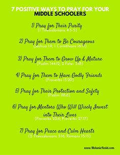 To survive raising middle schoolers, you need a plan. One of the best tips for parenting during the 6th, 7th, and 8th grades is to pray for these children. Here are 7 great ways to lift them up in prayer.