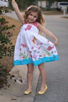 Embroidered Fish Dress form Cotton Kids