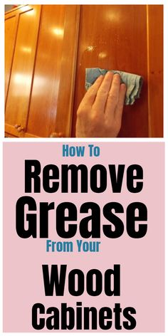 To Clean Your Wood Cabinets Clean and remove grease from your wood cabinets with these household tips and tricks.Clean and remove grease from your wood cabinets with these household tips and tricks. Household Cleaning Tips, Deep Cleaning Tips, Cleaning Recipes, House Cleaning Tips, Diy Cleaning Products, Cleaning Hacks, Spring Cleaning Tips, Cleaning Grease, Natural Cleaning Solutions