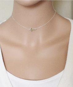 Hot Fashion Women  Silver Plated 8 Cross Pendant Charm Choker Chain Necklace