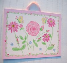 Pink Rose Spring Meadow Butterfly Garden Nursery Art by kaiulani, $75.00