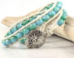 Denim Leather Wrap Bracelet Gray Leather Jewelry White Wrap