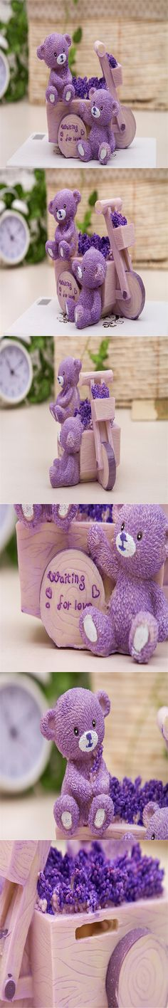 2016 Sell Well Resin Crafts Lavender Purple Bear Car Piggy Bank Creative Cute Boutique Decoration Animal Home Decoration $9.99
