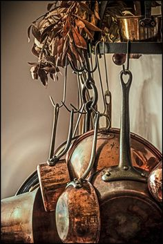 Old Copper Pots are Beautiful! Especially with black iron or brass handles & findings. Copper Pots, Copper Kitchen, Old Kitchen, Copper And Brass, Antique Copper, French Kitchen, Copper Decor, Kitchen Pans, Aged Copper