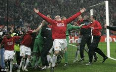 Manchester Uniteds Wayne Rooney celebrates after winning the Champions League final at the Luzhniki Stadium in Moscow