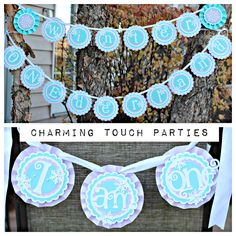 Winter ONEderland / Winter Wonderland Birthday banners. Set of 2 boutique banner.  Lavender and Aqua, fully assembled and customizable. by CharmingTouchParties on Etsy