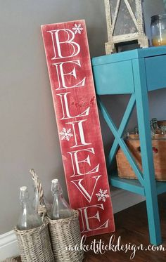 Rustic Believe Christmas Porch Sign by MakeitStickDesigns on Etsy