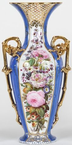 OLD PARIS TWO-HANDLED PORCELAIN VASE, HAVING HAND PAINTED FLORAL AND LEAF DECORATION, FITTED WITH APPLIED GILT DRAGON FORM HANDLES, FURTHER ENHANCED WITH GILT HIGHLIGHT